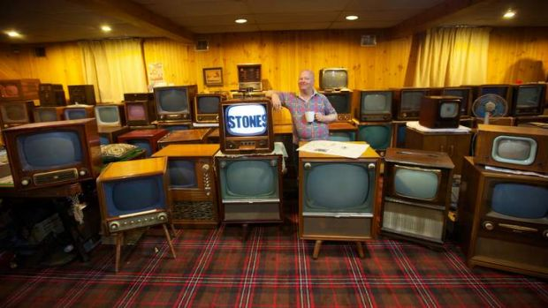 Dawn to dusk: Mark Lawson has about 100 black-and-white television sets, some dating from the start of the era.
