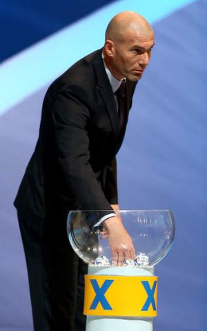 Stars on show: Zinedine Zidane was one of many footballing celebrities at the draw in Brazil.