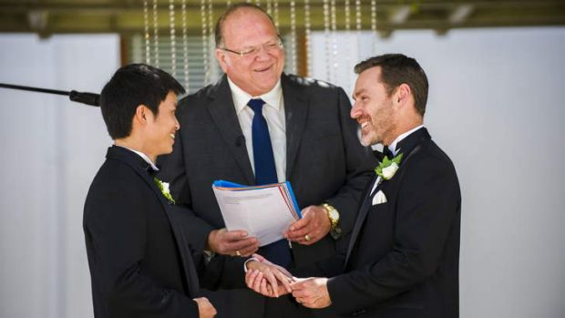 Ivan Hinton and Chris Teoh during their wedding at Old Parliament house.
