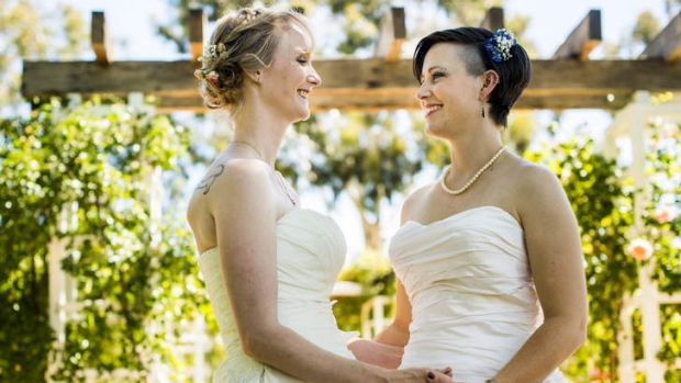 Tanya and Shar McKinlay travelled from Melbourne to marry at the Old Parliament House Rose Garden on Saturday.