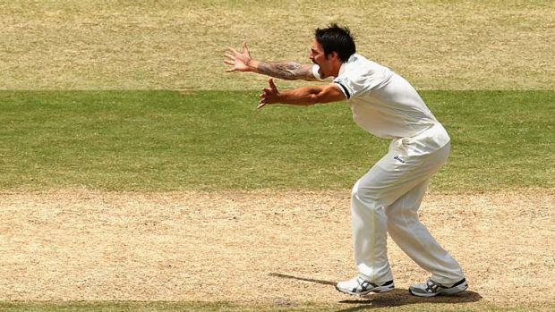 Mitchell Johnson appeals for a leg-before decision against Ben Stokes.