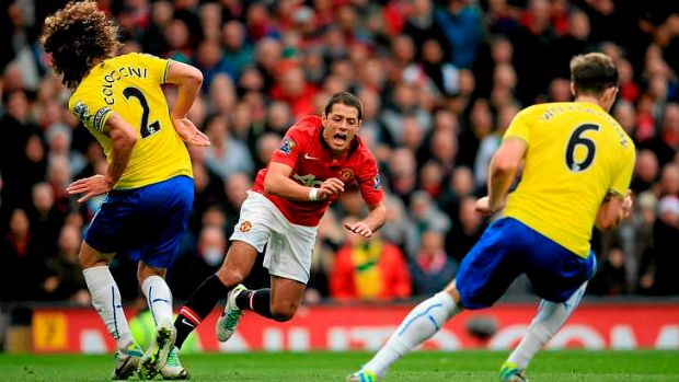 Stumbling: Javier Hernandez of Manchester United goes to ground in the penalty area after contact with Fabrizio ...