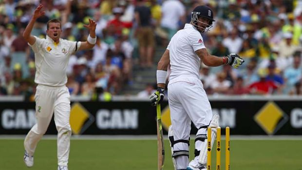 Timely wicket ... Kevin Pietersen looks at his stumps after he was bowled by Peter Siddle.