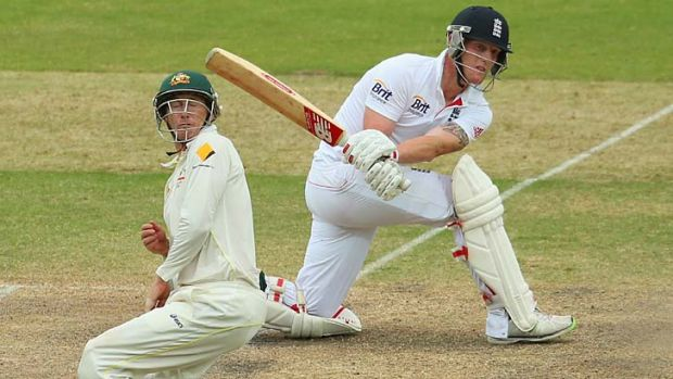 Resistance ...  Ben Stokes plays a shot through the off-side as George Bailey takes evasive action.