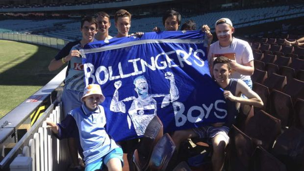 Well supported: the Bollinger Boys turned out in full voice at the SCG on Sunday.