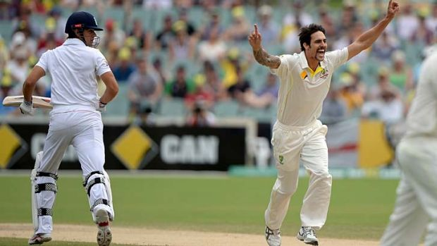 Flat finish: Mitchell Johnson dismisses Alastair Cook for one on Sunday.
