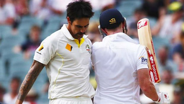 Australia's Mitchell Johnson (left) and England's Ben Stokes collided as Stokes was running between wickets during the ...