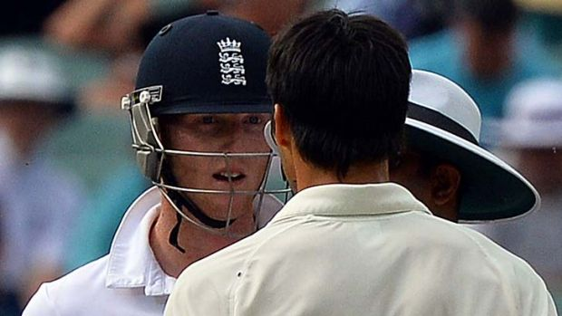 Australia's paceman Mitchell Johnson (right) and England's batsman Ben Stokes exchanged words as well as bumps.