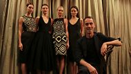 Fashion designer Martin Grant with models showing his spring summer collection at David Jones