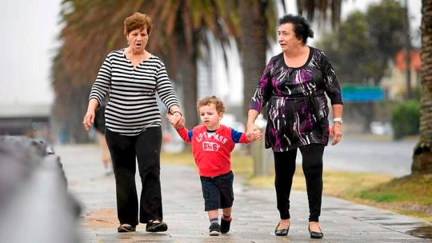 Happy days: Stavroula Liambos (left) and Lourdes Gauchi with their grandson Terry.