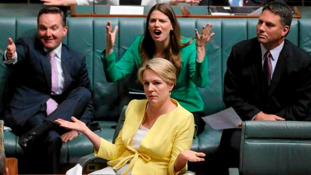Acting Opposition Leader Tanya Plibersek, Chris Bowen and Kate Ellis remonstrate with Leader of the House Christopher ...