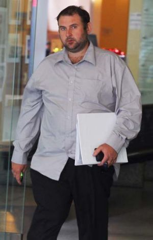 Questioned: David Hall, who sprayed an apprentice with flammable liquid while he was welding, at the court on Monday.