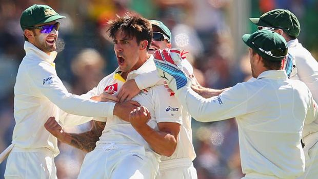 No mo needed: Mitchell Johnson took a match-winning 9-82 the last time he faced England in Perth. His career best ...
