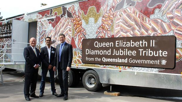 Diamond Jubilee Partnerships chairman Dr Neil Conn OA, QAIHC's Selwyn Button and Health Minister Lawrence Springborg ...
