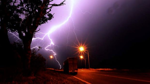 A thunderstorm passed over Sydney's west on Friday night.