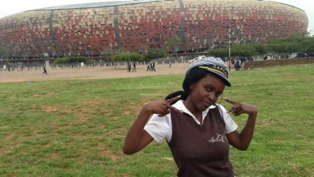 Gift of employment ... Nondumiso Ndzamela, 23, is one of thousands of South Africans who worked at Nelson Mandela's ...