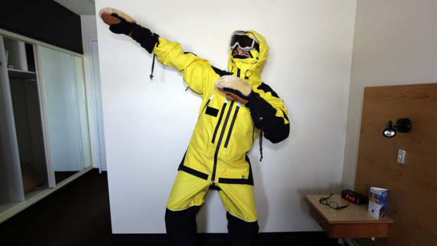 Ready to bolt: Colin Cosier models protective clothing for Antarctica.