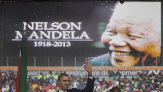 "Barack Obama called Nelson Mandela a ""giant of history""."