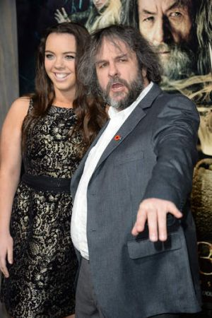 Peter Jackson and his daughter Katie at the Los Angeles premiere of <I>Smaug</I> on December 2, 2013.
