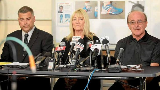 Detectove Insector Karl Thorton (left) with Richelle and Sam Arber, parents of missing tennis coach, Paul Arber, at a ...