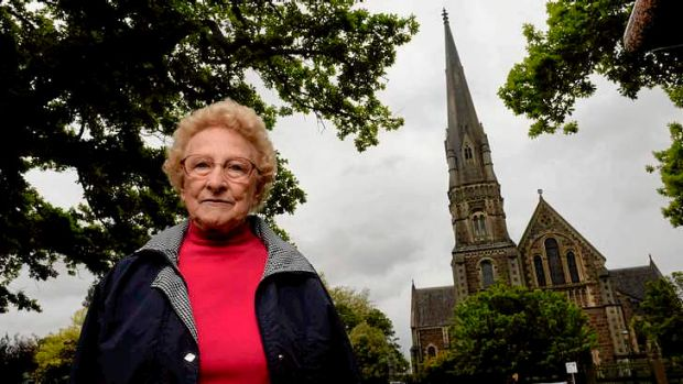 Joan Chambers, a member of Ballarat's Pleasant St church and an opponent of the Uniting Church auctions, is pictured in ...