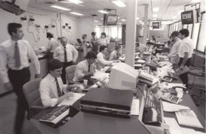 Players: Scenes at Westpac bank's foreign exchange division in 1983.