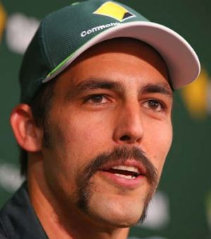 Mitchell Johnson speaks to the media in Perth on Wednesday.