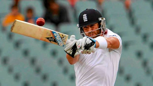 Hitting out: England batsman Matt Prior.