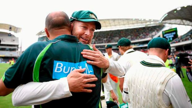 Captain knocked: Michael Clarke celebrates victory over England at the Adelaide Oval.