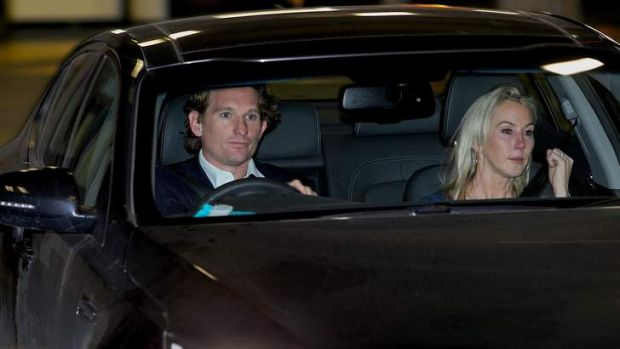 James and Tania Hird leave AFL House.