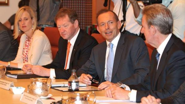 ACT Chief Minister Katy Gallagher, Dr Ian Watt, Secretary of Prime Minister and Cabinet, Prime Minister Tony Abbott and ...