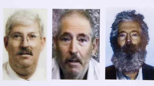 This FBI composite image shows Robert Levinson before his capture, in a video released three years ago and a picture of ...