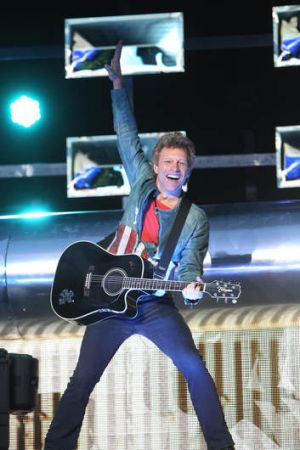 Bon Jovi performing at Homebush on Saturday night.