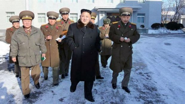 """""""Marvel"""": North Korean leader Kim Jong-un (centre) wants to entice people to the nation's ski fields."""