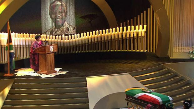 Malawi's President Joyce Banda talking during the funeral service of late former South African President Nelson Mandela ...