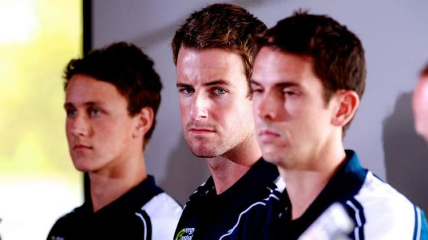 Facing the music: Disgraced relay team members Cameron McEvoy, James Magnussen and Eamon Sullivan.