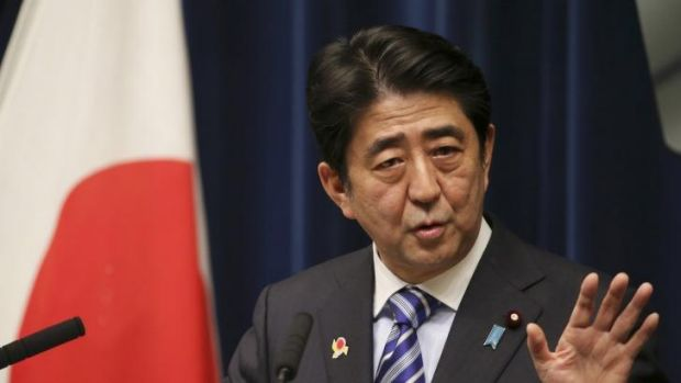 Japanese Prime Minister Shinzo Abe speaks during a press conference at his official residence after summit meetings with ...