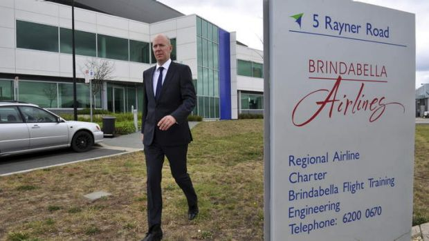 Sebastian Hams, Executive Director of KordaMentha, the company acting as the receiver for Brindabella Airlines, leaves ...