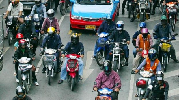 On the streets: Motorcycles in Bangkok.