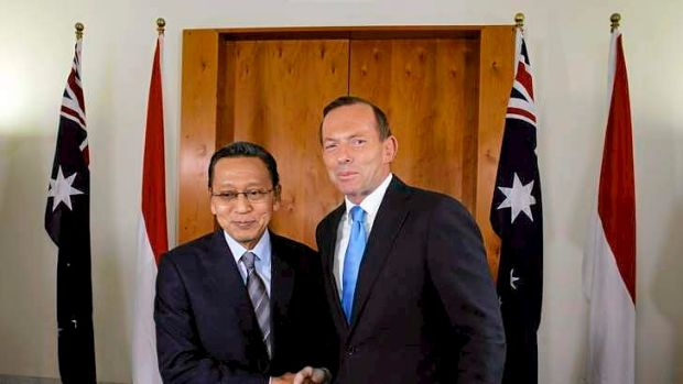 Prime Minister Tony Abbott greeted Indonesian Vice President Dr Boediono at Parliament House in Canberra.