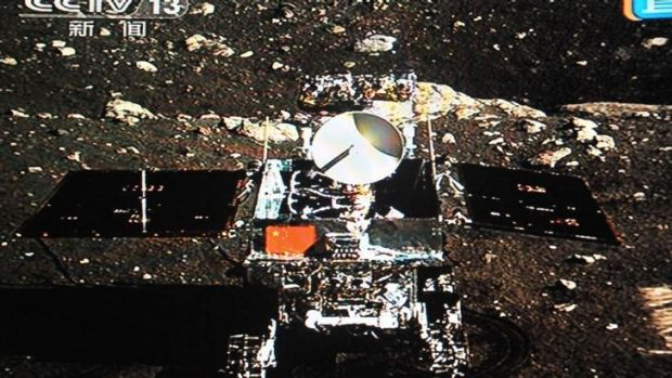 A photo of China's Jade Rabbit moon rover taken by the Chang'e-3 probe lander on December 15, 2013. Jade Rabbit has sent ...