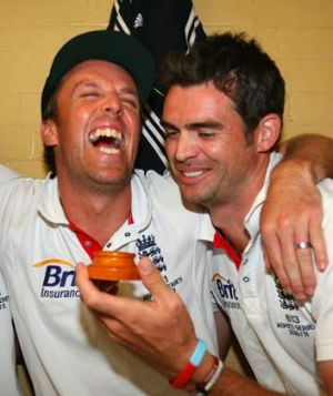 Graeme Swann and James Anderson celebrate in the dressing roomafter winning the 2011 Ashes series 3-1.