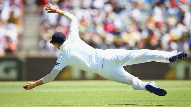 Joe Root shows off his commitment in the field.