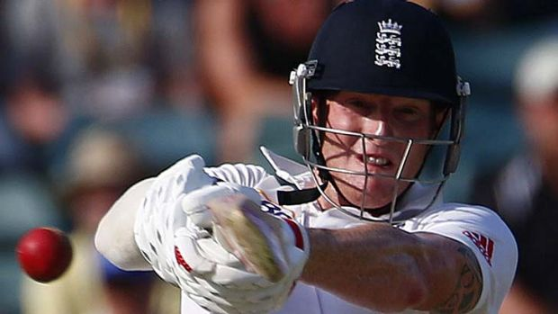 England's Ben Stokes hits out during the Third Test.