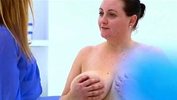 More than a handful ... Corrine visits Dr Ginni over her size G breasts.