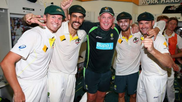 Winners' circle: Peter Siddle,  Mitchell Johnson, Craig McDermott, Nathan Lyon and Ryan Harris celebrate in the dressing ...