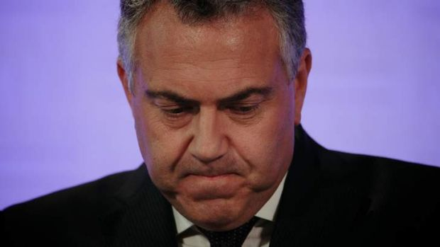 Treasurer Joe Hockey delivers the Mid-Year Economic and Fiscal Outlook at the National Press Club of Australia in ...