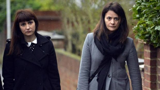 Sisters Francesca (left) and Elisabetta Grillo arrive at court in London.