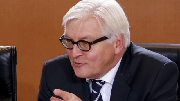 Foreign Minister Frank-Walter Steinmeier awaits the start of the first cabinet meeting following the swearing-in ...