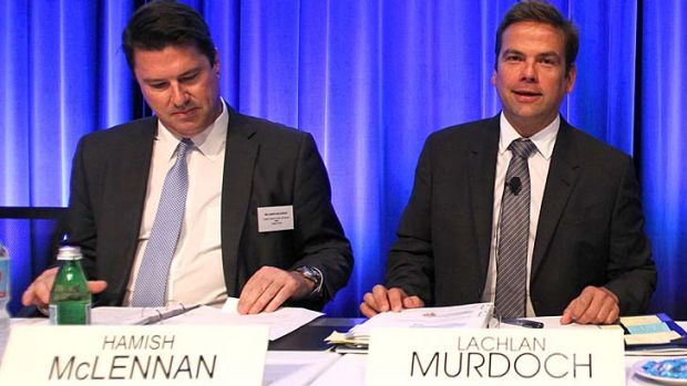 On the same page: Ten chief Hamish McLennan was backed by chairman Lachlan Murdoch.